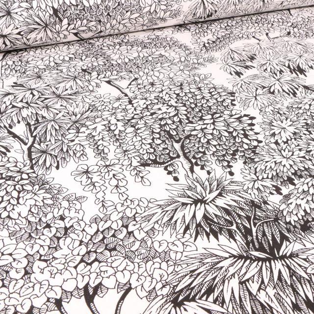 Tissu Toile de Coton Végétations Black & White sur fond Blanc