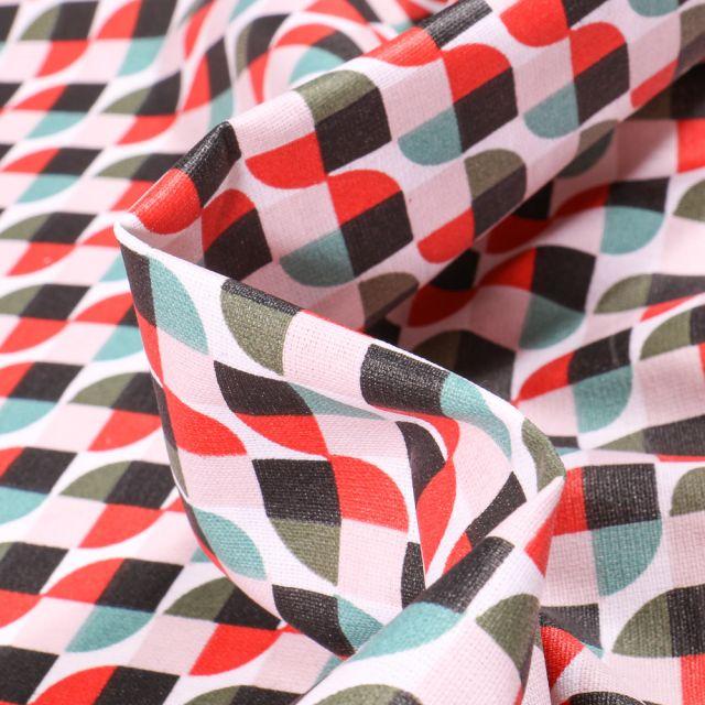 Tissu Coton enduit Seventies rouge et vert sur fond Blanc