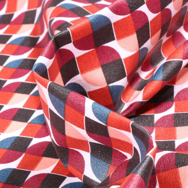 Tissu Coton enduit Seventies terracotta sur fond Blanc