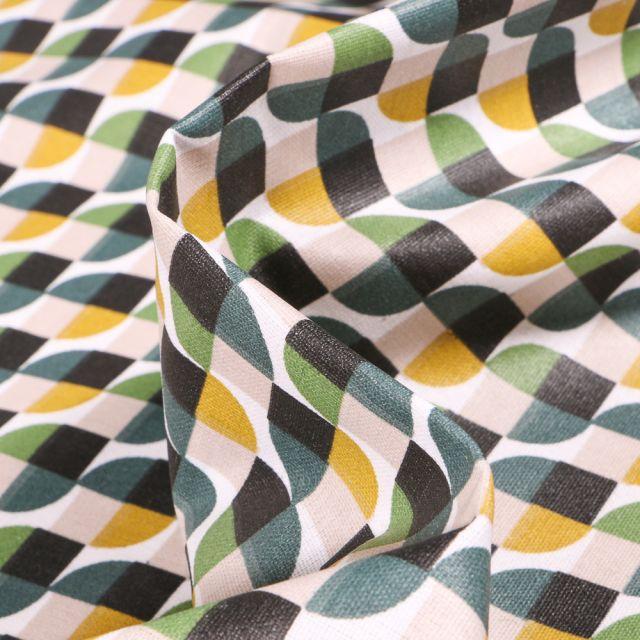 Tissu Coton enduit Seventies vert sur fond Blanc