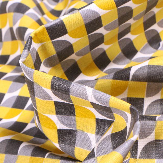 Tissu Coton enduit Seventies jaune et gris sur fond Blanc