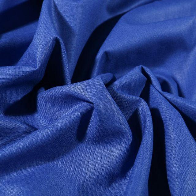 Tissu Coton uni Grande largeur 280cm Santorin Bleu roi - Par 10 cm