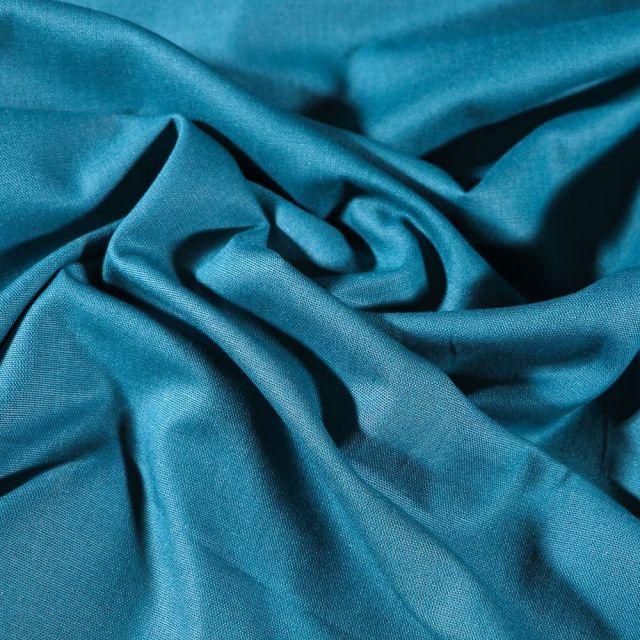 Tissu Coton uni Grande largeur 280cm Santorin Bleu pétrole - Par 10 cm