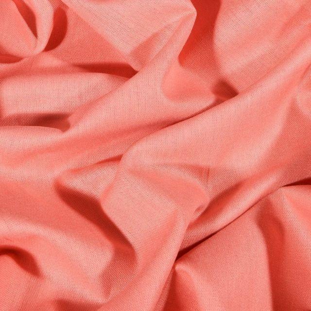 Tissu Coton uni Grande largeur 280cm Santorin Pêche - Par 10 cm