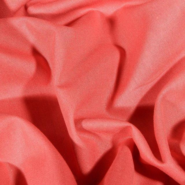 Tissu Coton uni Grande largeur 280cm Santorin Corail - Par 10 cm