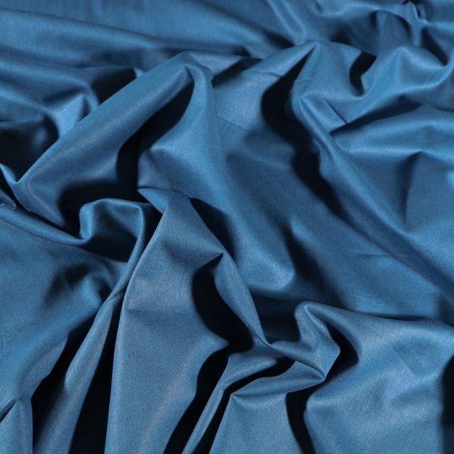 Tissu Coton uni Grande largeur 280cm Santorin Bleu indigo - Par 10 cm