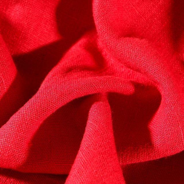 Tissu Lin lavé d'ameublement Rouge - Par 10 cm