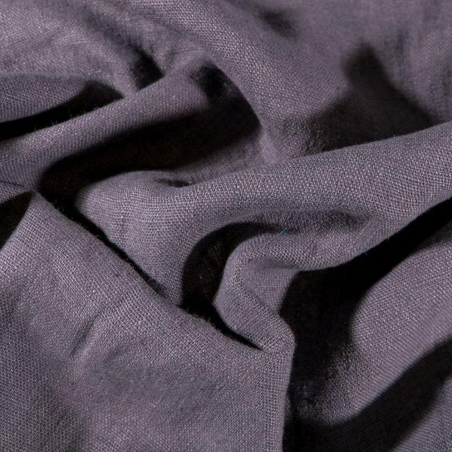 Tissu Lin lavé d'ameublement Gris anthracite - Par 10 cm