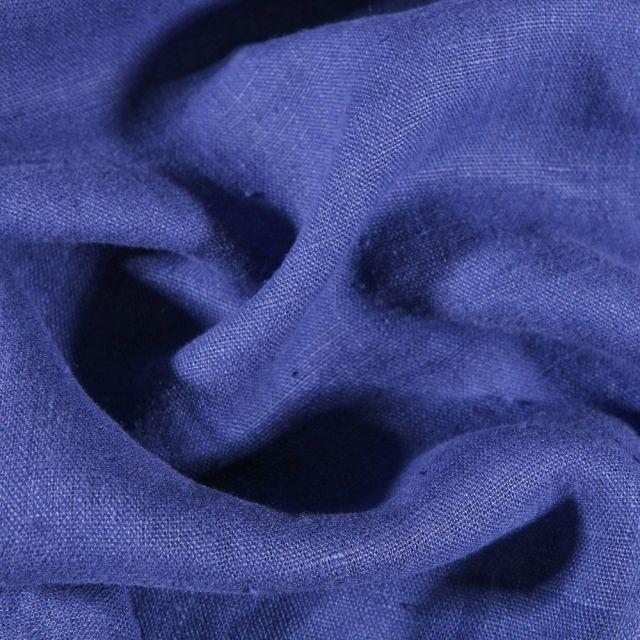 Tissu Lin lavé d'ameublement Bleu indigo - Par 10 cm