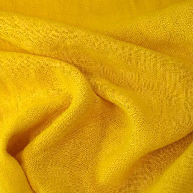Tissu Lin lavé d'ameublement Jaune - Par 10 cm