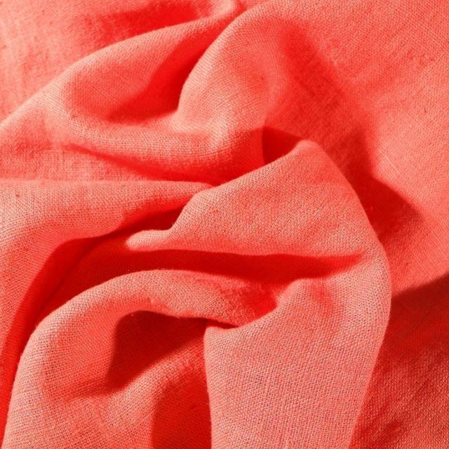 Tissu Lin lavé d'ameublement Corail - Par 10 cm