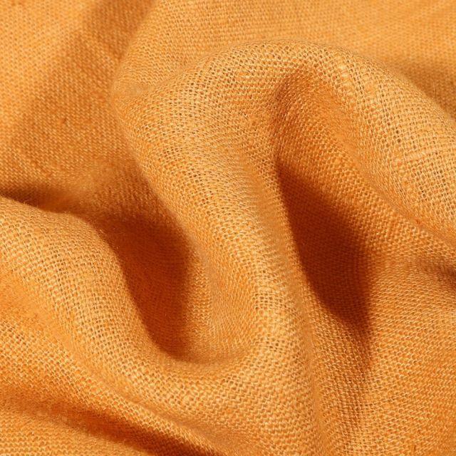 Tissu Lin lavé d'ameublement Jaune curry - Par 10 cm