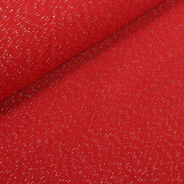 Tissu Toile Polycoton Lurex uni Cubex Rouge - Par 10 cm