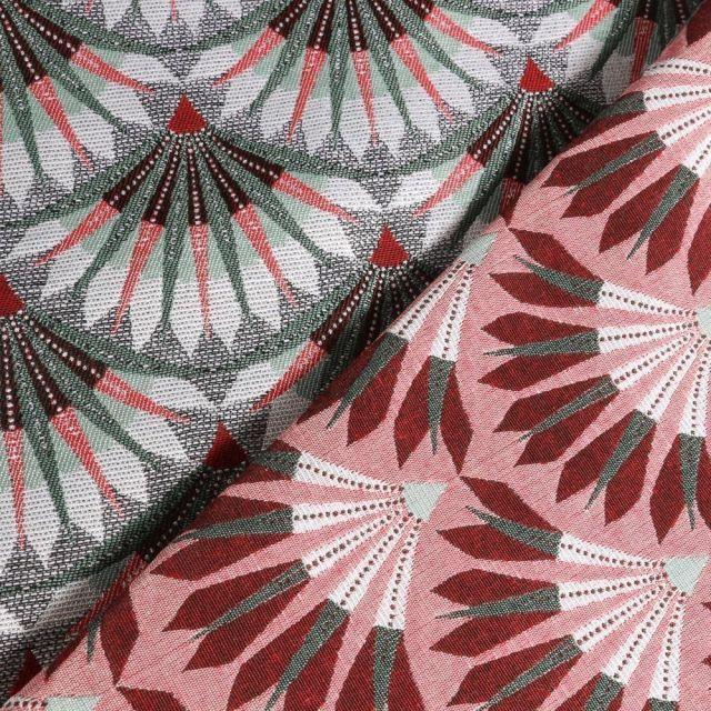 Tissu Jacquard Éventails verts et rose sur fond Vert - Par 10 cm