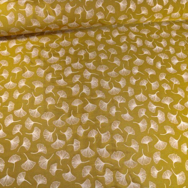 Tissu Toile jacquard reversible lurex Ginkgo sur fond Ocre - Par 10 cm