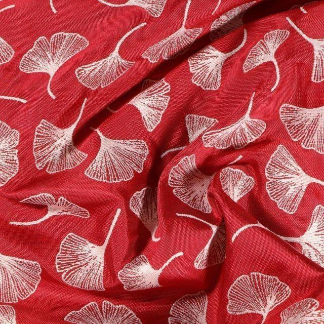 Tissu Toile jacquard reversible lurex Ginkgo sur fond Rouge - Par 10 cm