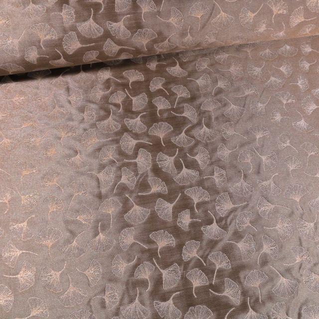 Tissu Toile jacquard reversible lurex Ginkgo sur fond Taupe - Par 10 cm