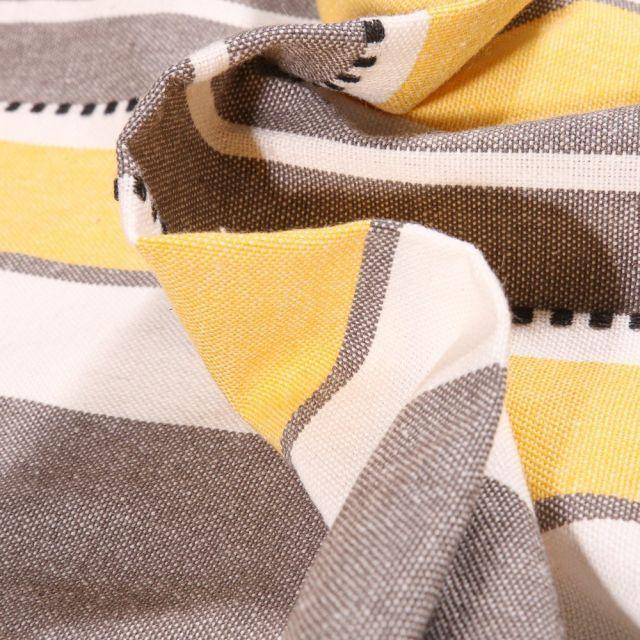 Tissu Toile Coton aspect lin Rayures jaunes sur fond Gris - Par 10 cm