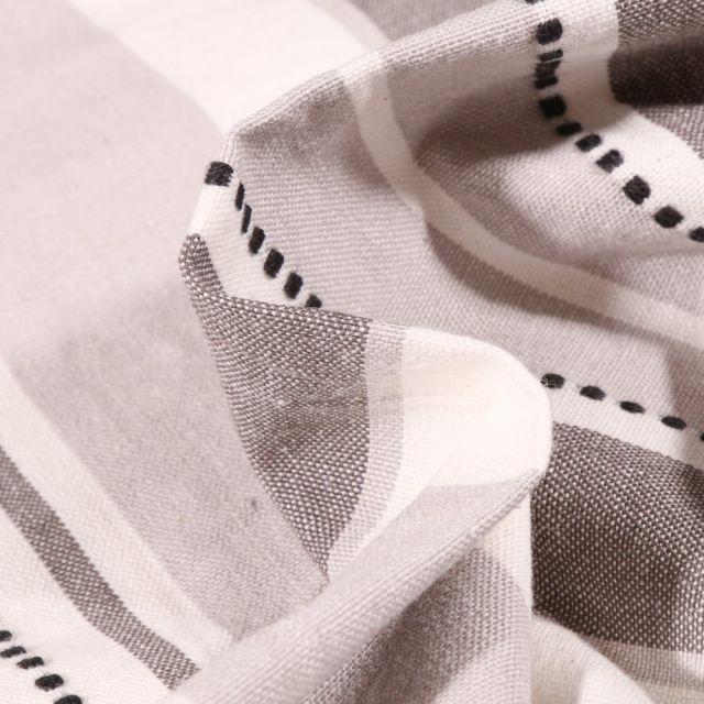 Tissu Toile Coton aspect lin Rayures blanches sur fond Gris - Par 10 cm