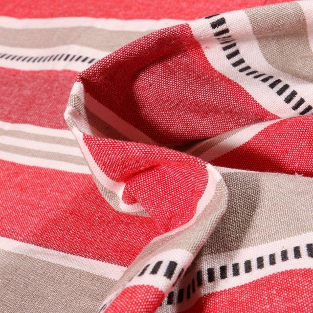 Tissu Toile Coton aspect lin Rayures grises sur fond Rouge - Par 10 cm