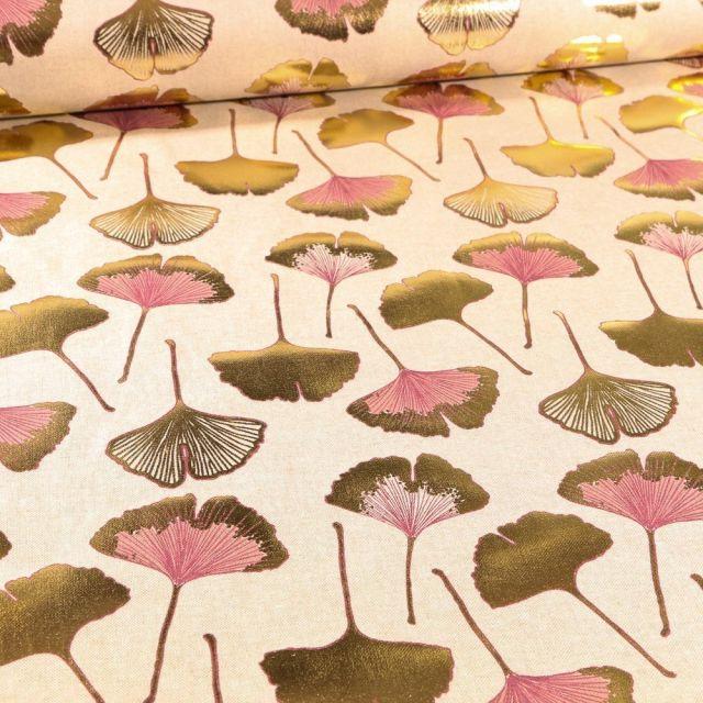 Tissu Toile Coton Feuilles de Gingko dorés et rose sur fond Naturel - Par 10 cm