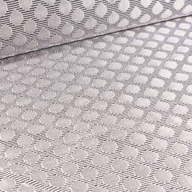 Tissu Jacquard Rayures noires pois argentés sur fond Blanc