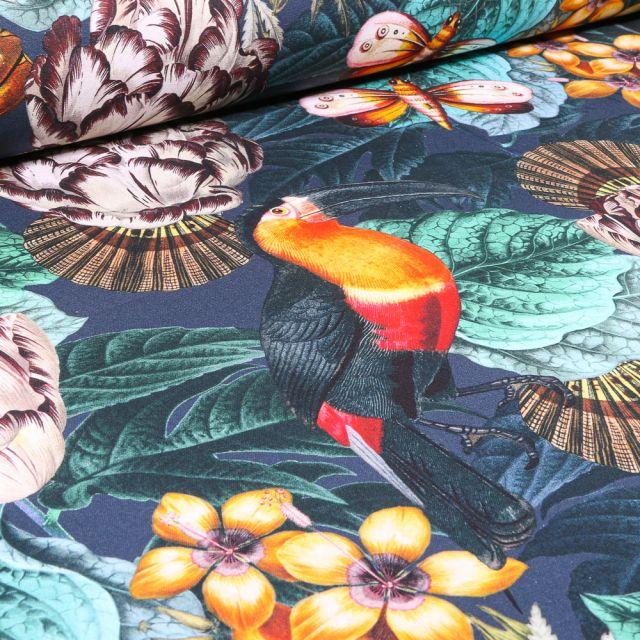 Tissu Toile de Coton Bachette Toucan Tropic sur fond Bleu nuit