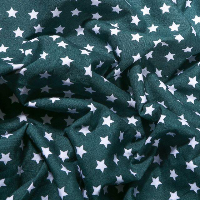 Tissu Coton imprimé Etoiles blanches 1 cm sur fond Vert foncé - Par 10 cm