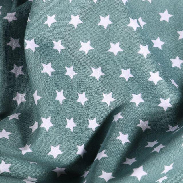 Tissu Coton imprimé Etoiles blanches sur fond Bleu gris - Par 10 cm