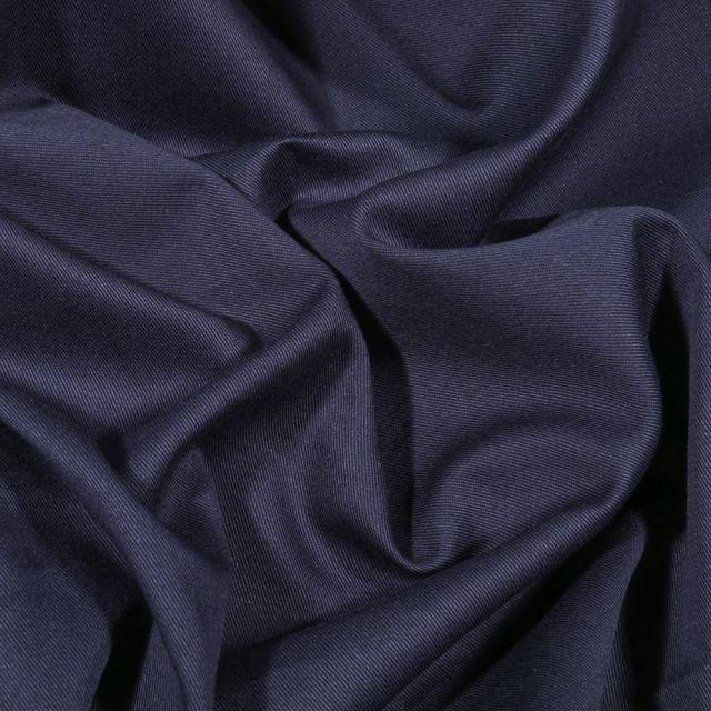 Tissu Coton Sergé uni Bleu marine - Par 10 cm