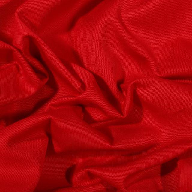 Tissu Coton Sergé uni Rouge - Par 10 cm
