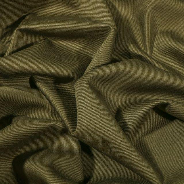 Tissu Coton Sergé uni Vert kaki - Par 10 cm