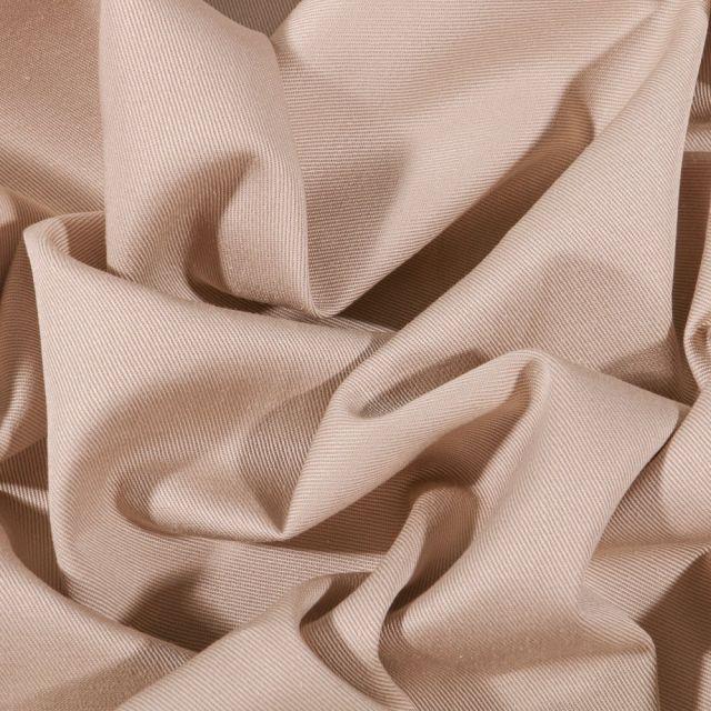 Tissu Coton Sergé uni Beige - Par 10 cm