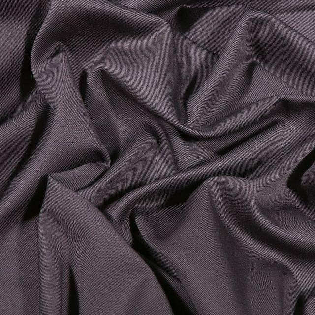 Tissu Coton Sergé uni Gris anthracite - Par 10 cm