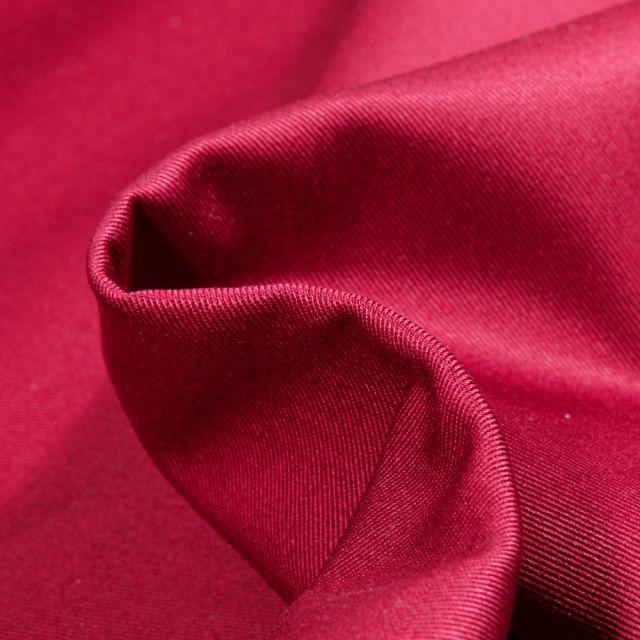 Tissu Coton Sergé uni Rouge griotte