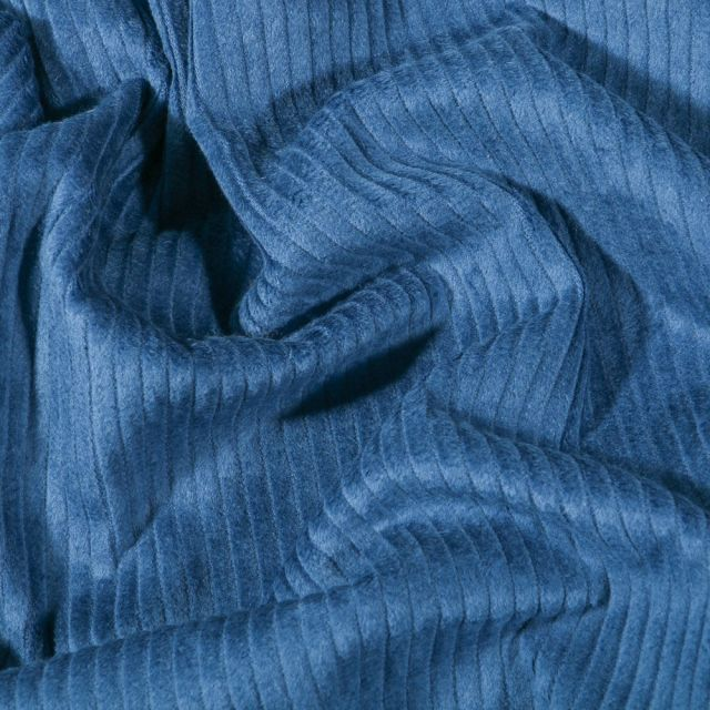 Tissu Velours côtelé uni Bleu pétrole - Par 10 cm