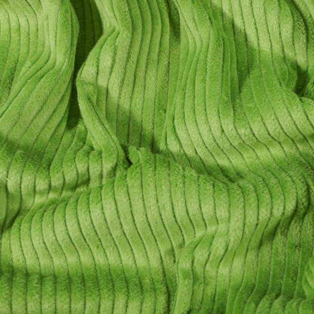 Tissu Velours côtelé uni Vert pomme - Par 10 cm