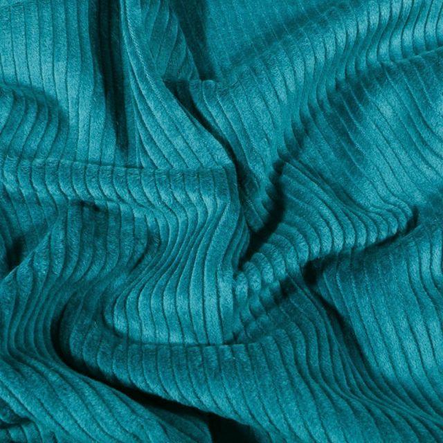 Tissu Velours côtelé uni Bleu canard - Par 10 cm