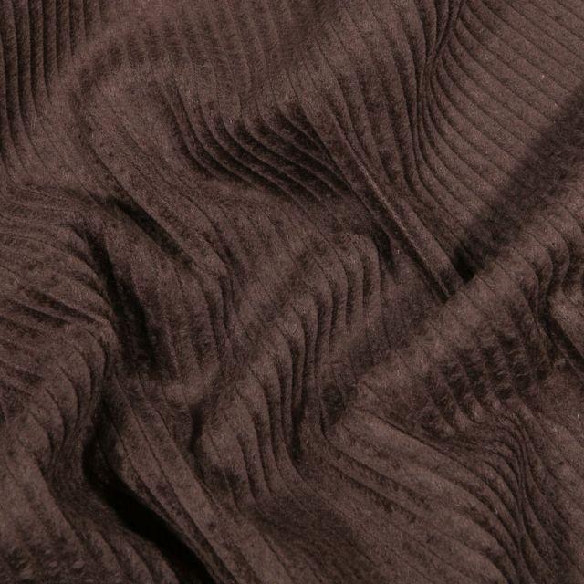 Tissu Velours côtelé uni Marron - Par 10 cm