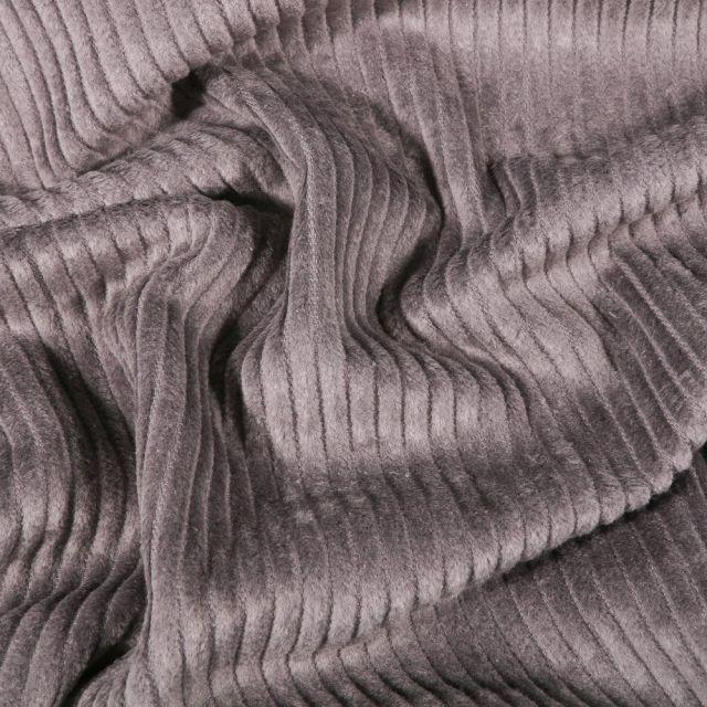 Tissu Velours côtelé uni Gris - Par 10 cm