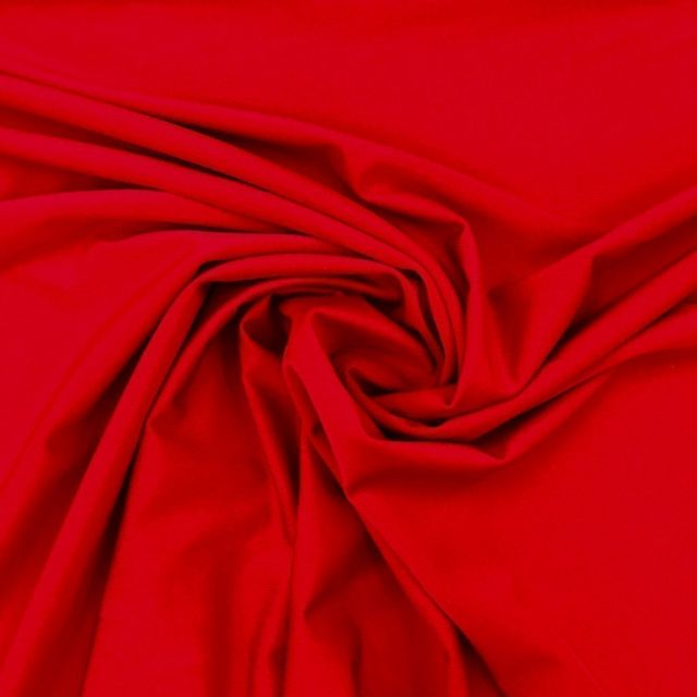 Tissu Lycra brillant Rouge - Par 10 cm