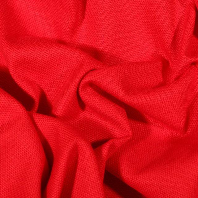 Tissu Toile Coton Canvas uni  Rouge - Par 10 cm