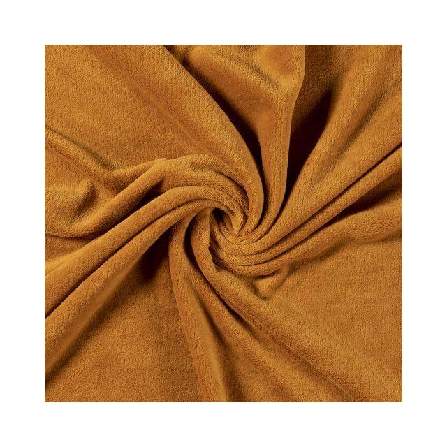 Tissu Doudou uni Ocre - Par 10 cm