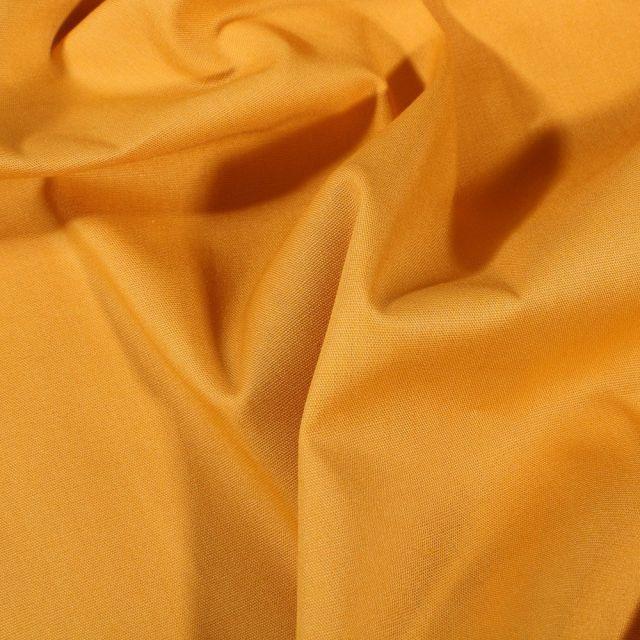 Tissu Popeline de coton Uni Jaune curry - Par 10 cm