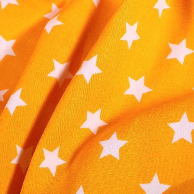 Tissu Coton imprimé Grandes étoiles blanches sur fond Jaune - Par 10 cm