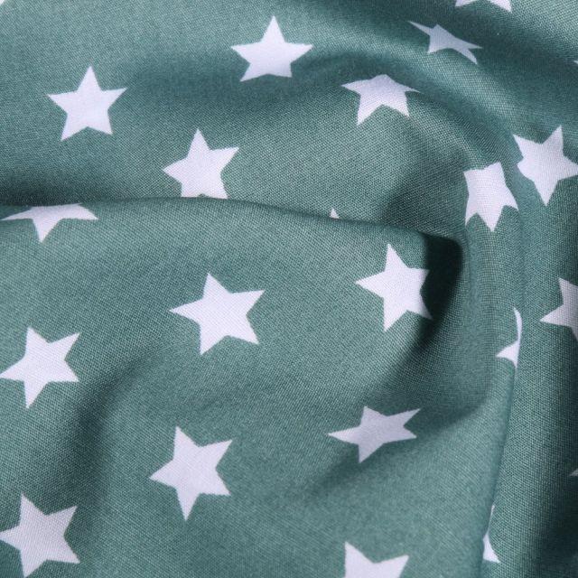 Tissu Coton imprimé Grandes étoiles blanches sur fond Vert d'eau - Par 10 cm