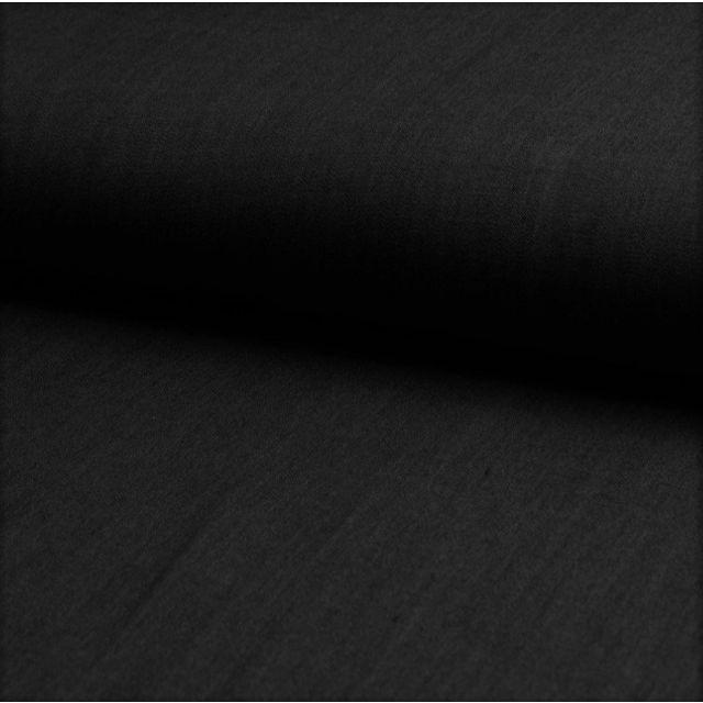 Tissu Chambray Ultra Léger Coton Noir - Par 10 cm
