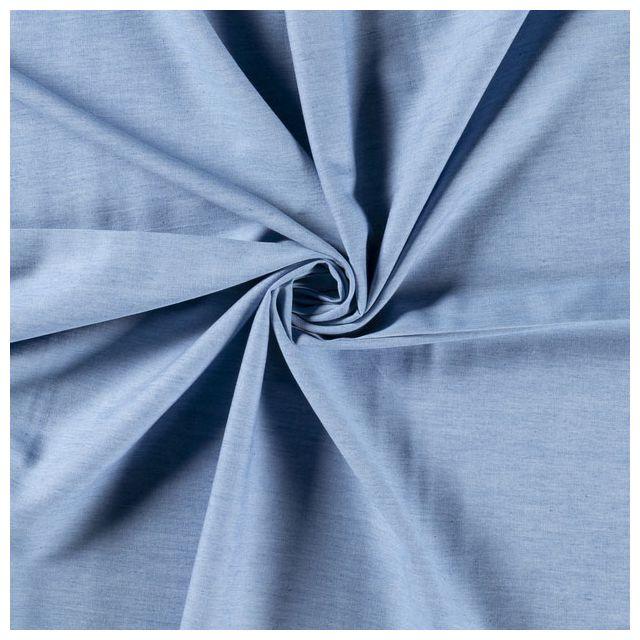 Tissu Chambray Ultra Léger Coton Bleu jean clair - Par 10 cm