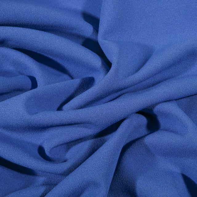 Tissu Crêpe Scuba extensible uni Bleu - Par 10 cm