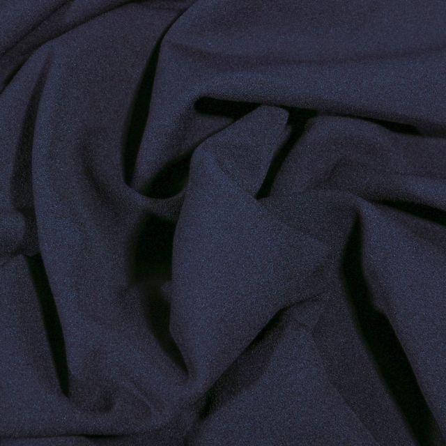Tissu Crêpe Scuba extensible uni Bleu marine - Par 10 cm